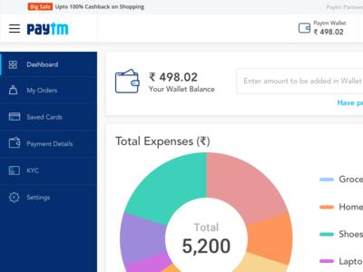 Paytm finance management dashboard payment summary graphs charts dashboard management finance expense ewallet redesign wallet paytm