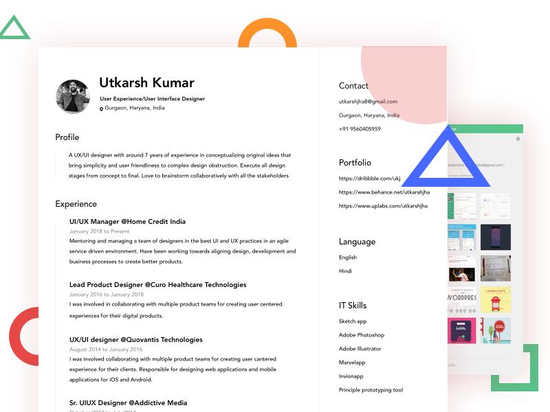 Resume Cv Ui Ux Designer By Utkarsh Kumar Dribbble Dribbble