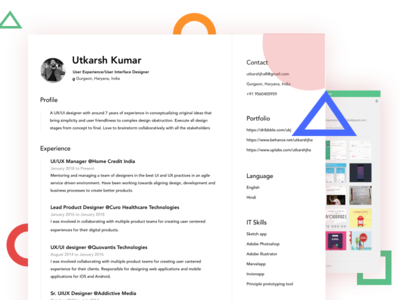 Resume | CV| UI/UX | Designer minimal clean tech apps color ux ui skills personal resume cv about