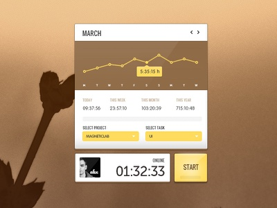 Tracker Interface time tracker clock in statistic ui desktop clean minimalistic user interface user interface magneticlab