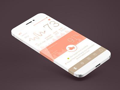 Oxygen Pulse Meter App Concept magneticlab flat clean design minimal pulse meter ios 7 app design stats graph