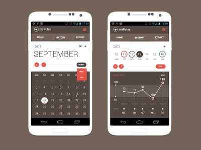 Android App Concept   Calendar View ui android app clean magneticlab calendar graph statistic heart rate pulse flat