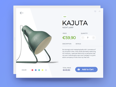 Day 002 - Product Item Card lamp flat material product shop e-commerce add card