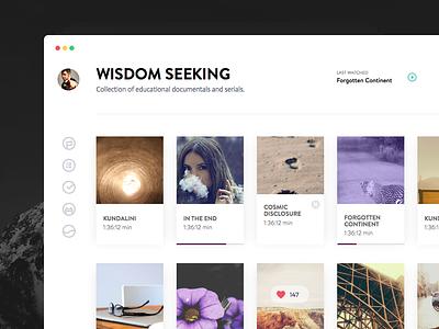 Day 004 - Media Library clean white app desktop ui widget playlist dashboard movie library media