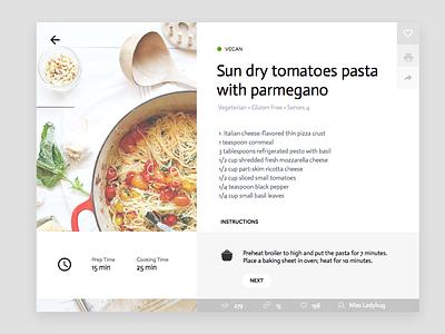 Day 005   Cooking Recipe Card A restaurant pasta nutrition clean recipe food widget card ui