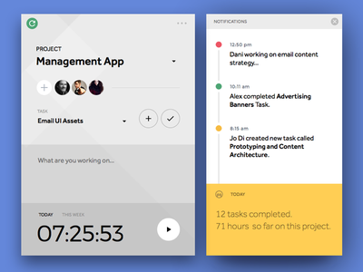 Day 006   Time Tracker Widget Sidebar project app tool management tracker time info card flat widget ui