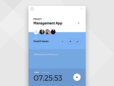 Time Tracker Widget Palette project app tool management tracker time info card flat widget ui