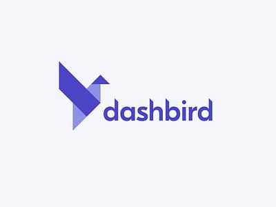 Dashbird logo clean minimal purple branding logo dashboard origami bird