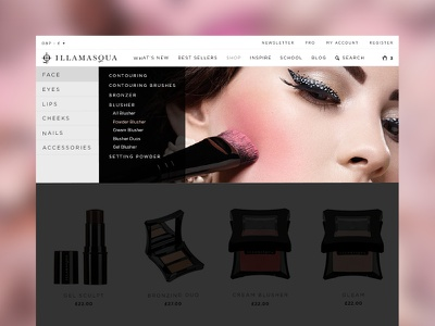 Illamasqua's Navigation Design menu fluid design ecommerce responsive website navigation