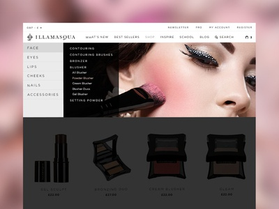 Illamasqua's Navigation Design menu fluid design ecommerce responsive website navigation
