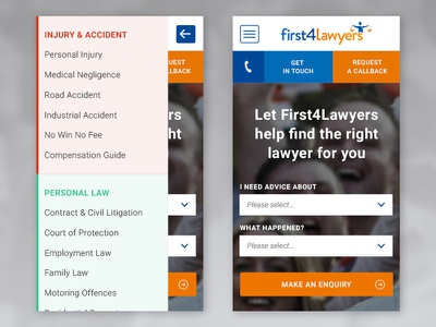 First4lawyers Mobile Navigation menu design off canvas menu flat design icons blue responsive design web design corporate design navigation layout mobile navigation