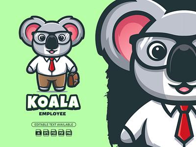 Koala Employee || Mascot Logo logo illustration illu graphic design design mascot logo mascot branding cartoon logo cartoon