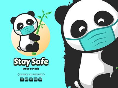 Stay Safe Panda || Mascot Logo mascot logo mascot logo illustration graphic design design cartoon logo cartoon branding