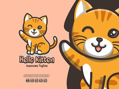 Hello Kitten || Mascot Logo kitten kitty cat cartoon cat cat logo mascot logo mascot vector logo illustration graphic design design cartoon logo cartoon branding
