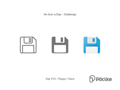 Icon Challenge Day 16 Floppy / Save disc save floppy stroke solid processor material line icon flat