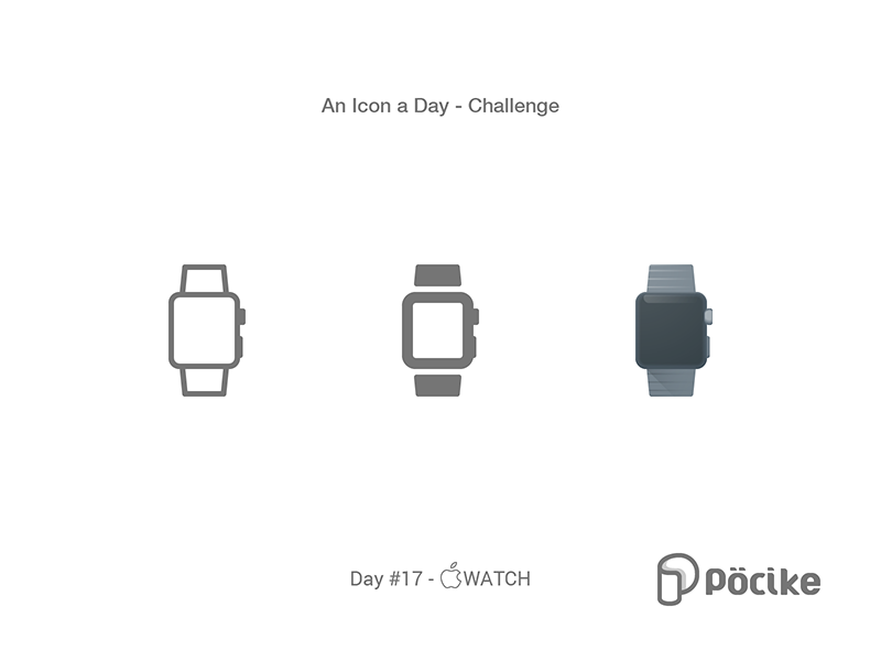 Icon Challenge Day 17 Apple Watch glyph stroke solid material line icon flat iwatch apple watch