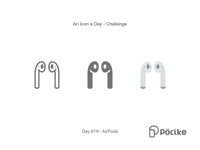 Icon Challenge Day 19 Air Pods pods air stroke solid material line airpods icon glyph flat apple