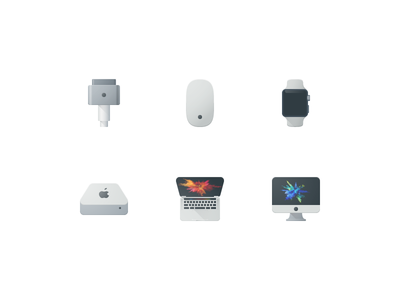 Apple Product Icons  icons iwatch mac mini maguc mouse magsafe macbook imac pixel perfect flat material icon color