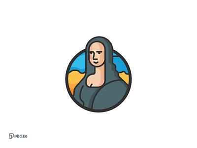 Mona Lisa Icon color line minimal design art leonardo davinci icon lisa mona