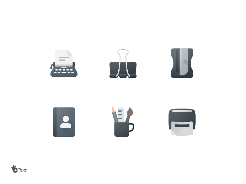 Office Tool Icons tools mug paper clip stamp contact typwriter stationarry office material icon flat design