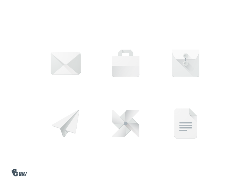 Paper Object Icons flat material bag shopping wind document envelope plane paper icons icon