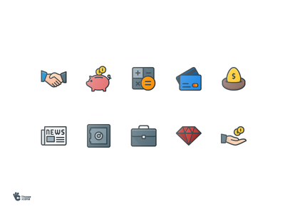 50 Business Colored Line Icons