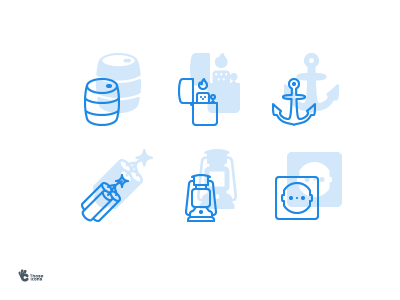 Sample objects business colored line icons