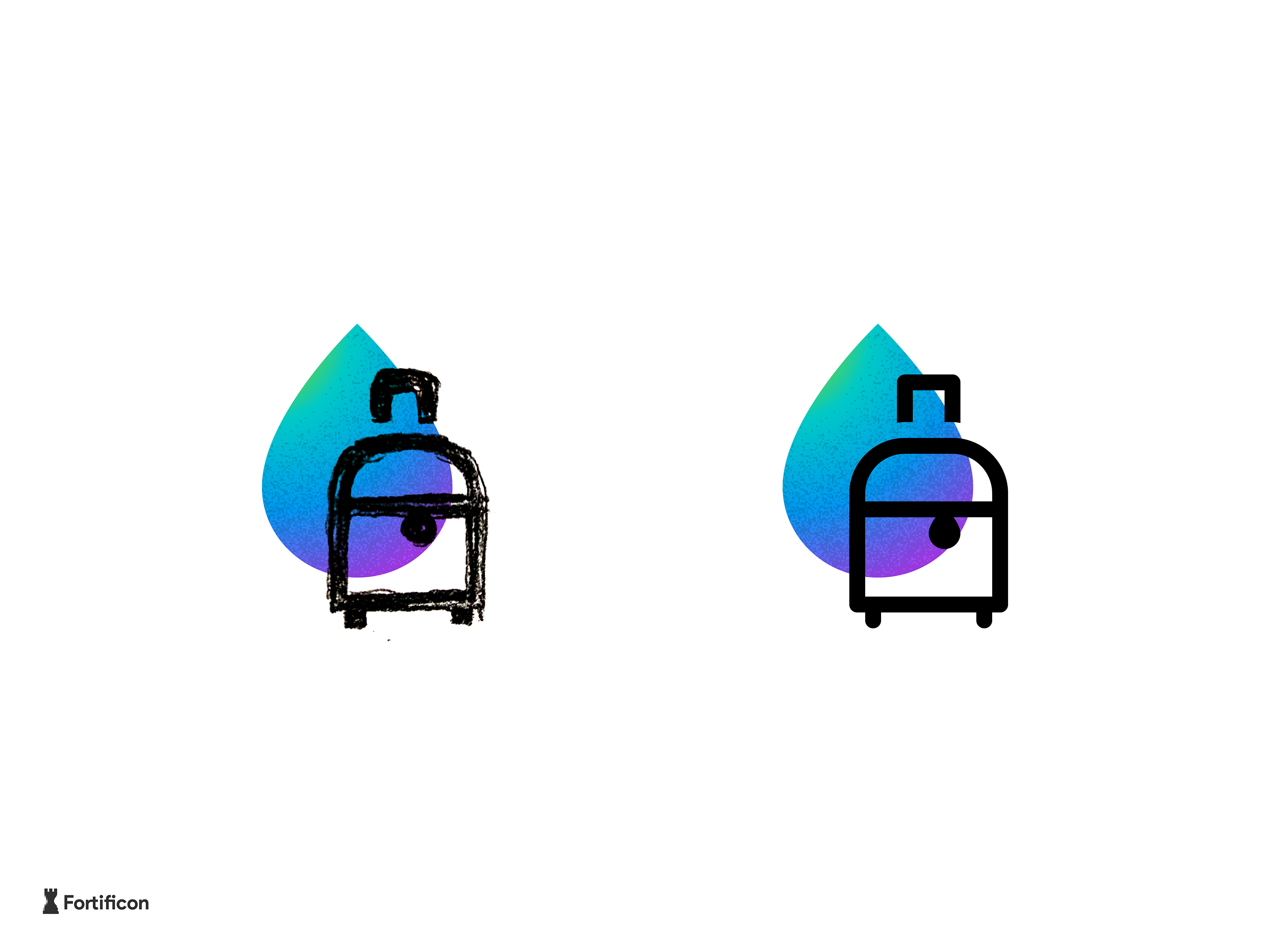 02 travel suitcase icon sketch