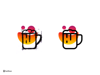 Icon a Day Challenge - Beer Icon gradient texture textured party drink beer icon line stroke icons design illustration vector