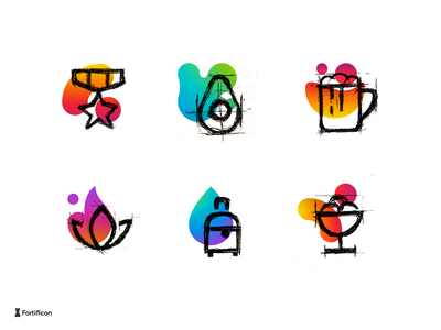 Sketch Line Icons With Abstract Background travel avocado award starry beer abstract sketch color gradient texture textured icon line stroke icons design illustration vector ice cream sweet