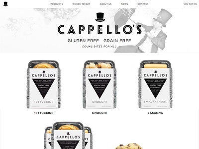 New Cappello's Gluten Free Site web website typography gotham hfj responsive black white