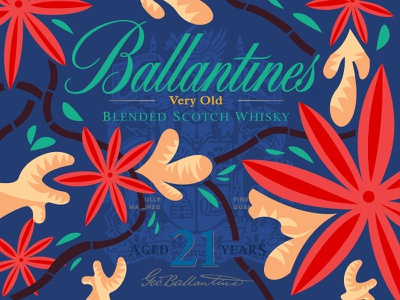 Ballantine's label Complex Spices design ballantines liquorice ginger cinnamon spices illustration naive whisky bottle packaging label