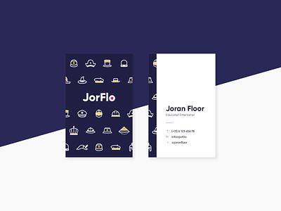 Businesscard voor JorFlo work typography logo branding portfolio illustration clean hats card businesscard design