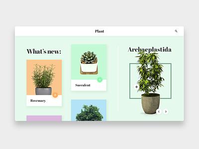 Plant - Landing green plants website work web ux ui product portfolio design clean app