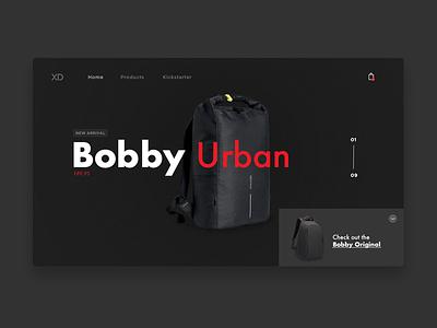 XD - Landing portfolio work xd bag website design clean ux ui