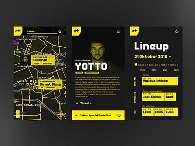 ADE-Festival Application Design dance yellow branding app design clean portfolio ux ui