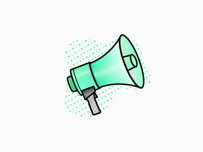 Feedback Friday feedback megaphone website web design work icon illustrator green clean branding vector portfolio illustration