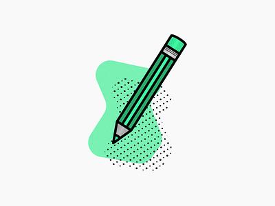 Pencil icon ui clean icon illustrator vector work green portfolio design illustration