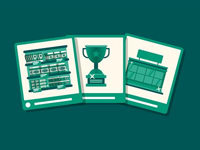 Social media-post examples. prize groceries shelf supermarket market branding illustrator green vector design clean portfolio illustration