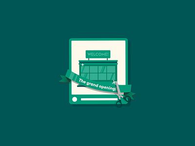 the Grand opening! website branding illustrator green work vector design portfolio clean illustration