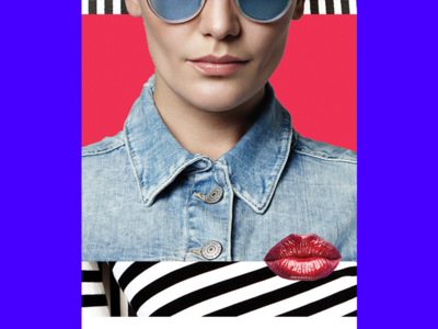 lips illustration collage editorial geometry abstract fashion