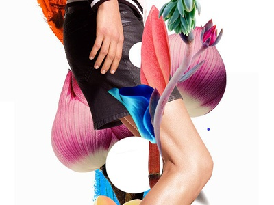 Blooom illustration nature color dot collage beauty editorial digital geometry flowers fashion