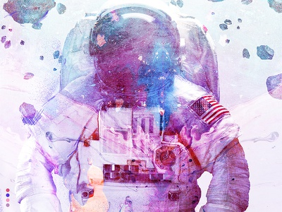 Space sketch astronaut portrait brush sketch digital cosmos space illustration