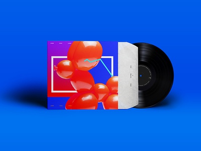 Blow  color minimal geometry dog digital balloon artwork cover vinyl