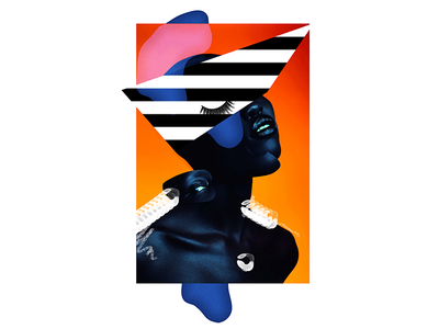 neon like geometry collage digital portrait face gaultier design art fashion