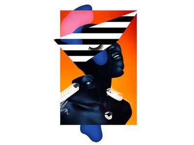 neon like geometry collage digital portrait face gaultier design art fashion
