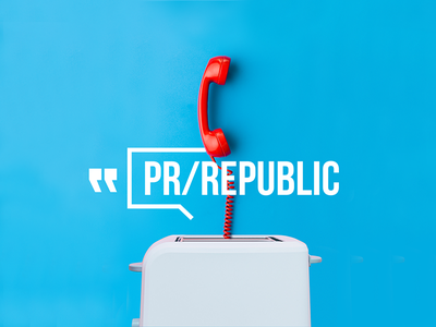 PR/REPUBLIC branding advertising agency pr minimal graphic logo. bold