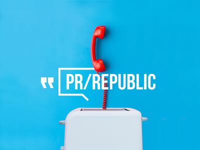 PR/REPUBLIC branding advertising agency pr minimal graphic logo. bold