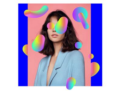 collage women pink minimal fashion illustration photo colors bold graphic portrait geometric collage