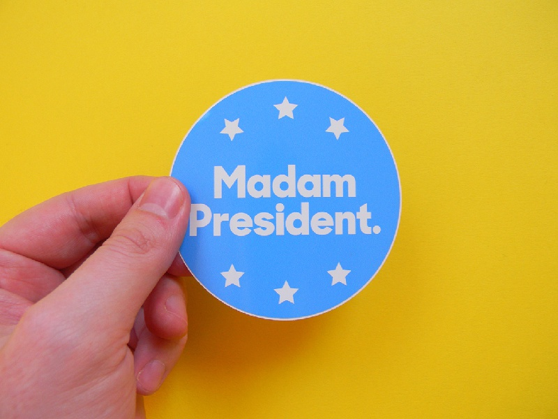 Madam President feminism womens march politics hillary clinton madam president stickers print typography graphic design